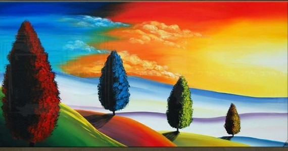 landschap schilderij bomen