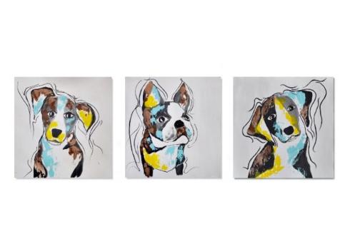 Schilderij drieluik dog